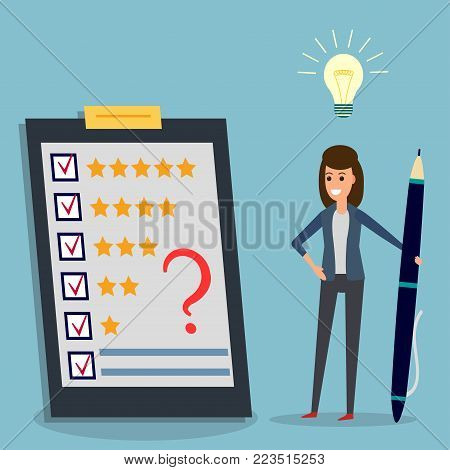 Happy businesswoman holding pen looking at questionnaire with question mark on clipboard, idea bulb. Concept illustration of customer testimonials, business, vote, feedback, review support, rating.