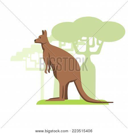 Australian kangaroo, flat image on white background, silhouettes of trees