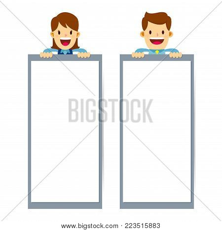 Vector stock of businessman and business woman holding a vertical blank banner while smiling