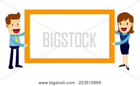Vector stock of businessman and business woman together holding a horizontal blank banner while smiling
