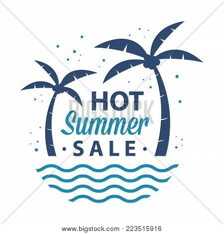 Vector stock illustration of summer sale advertisement, a sign, or symbol with palm trees and waves