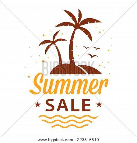 Vector stock illustration of summer sale advertisement, a sign, or symbol with palm trees on island and waves