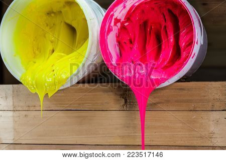 Pink And Yellow Colors Of Ink For Print Tee Shirt