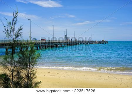 Palm Cove Jetty  in far North Queensland Australia a popular place for fishing from the jetty