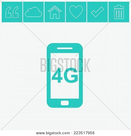 Smartphone vector icon. 4G vector flat icon on gray background.