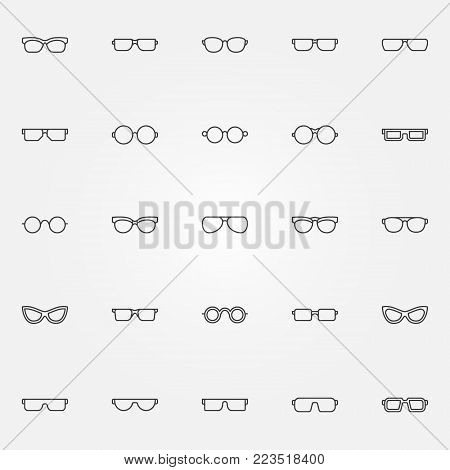 Glasses icons set. Vector collection of eyeglasses or spectacles concept symbols in thin line style