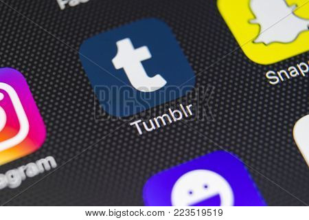 Sankt-Petersburg, Russia, January 24, 2018: Tumblr plus application icon on Apple iPhone 8 smartphone screen close-up. Tumblr plus app icon. Tumblr is internet online social network