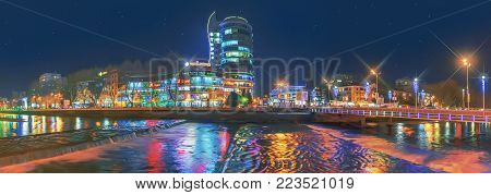 SOCHI, RUSSIA - JANUARY 11, 2018: Reflection of city illumination in the Sochi River