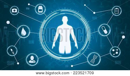 circular hud display with an human silhouette and a network of medical symbols (3d render)
