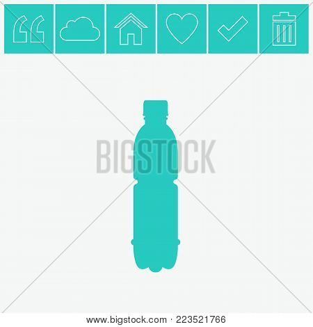 A bottle of water vector flat icon on gray background.