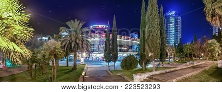 SOCHI, RUSSIA - JANUARY 7, 2018: Circus at night illumination