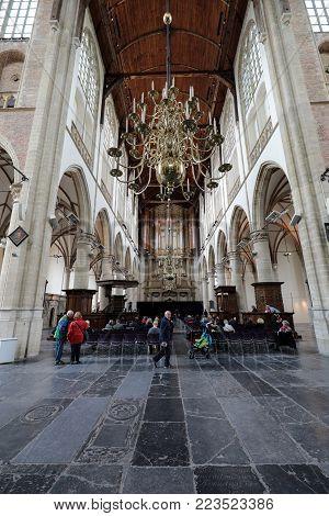 ALKMAAR,  NETHERLANDS - APRIL 21, 2017: Interior of the Church of St. Lawrence (Grote Kerk or Great Church) in Alkmaar, Netherlands.