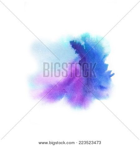 Abstract background. Watercolor splash painted manually blue, pink, lilac tones.Splash waves watercolor. White background and drop. Place for the text. Abstract watercolor  background painted manually.