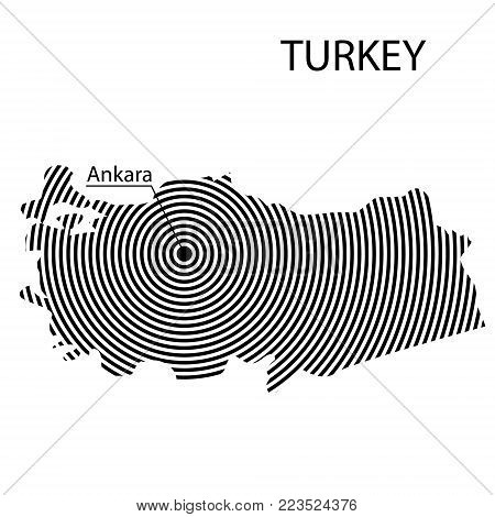 Map of Turkey. Abstract black and white striped map of the country with the designation of the capital. Isolated on white background.