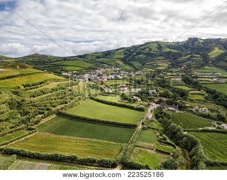 Aerial view of the small town of Ginetes on the Azorean Island of Sao Miguel in Portugal.