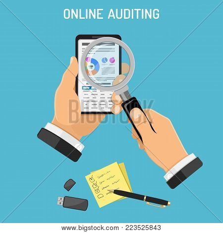 Online Auditing, Tax, Accounting Concept. Auditor Holds Smartphone in Hand and Checks Financial Report with Charts on Screen using a Magnifying Glass. Flat Style Icons. Isolated Vector Illustration