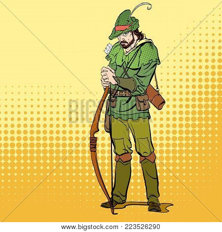 Robin Hood standing with bow and arrows. Robin Hood in a hat with feather. Young soldier. Noble robber. Defender of weak. Medieval legends. Heroes of medieval legends.