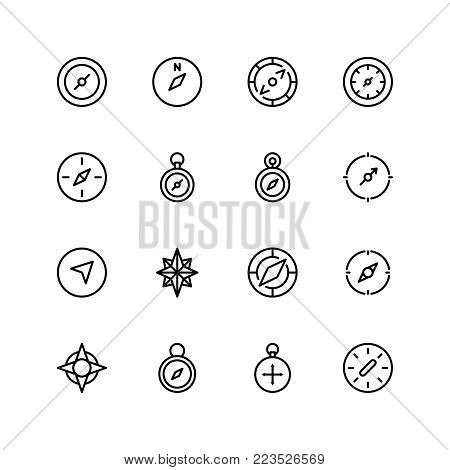Compass flat icon set . Single high quality outline symbol of info for web design or mobile app. Thin line signs for design logo, visit card, etc. Outline logo of compass
