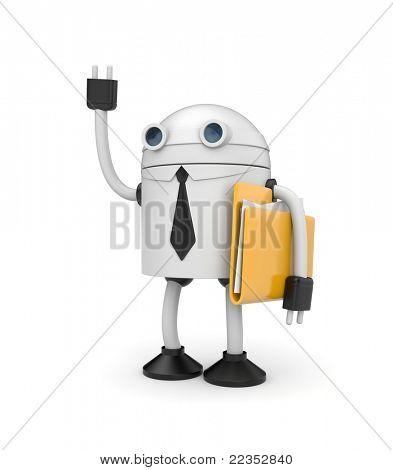 Roboter Geschäftsmann mit Ordner