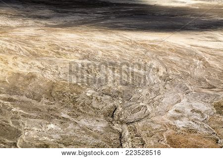 Rain water rivulets in the crater at the summit of Mount Egon in East Nusa Tennggara, Indonesia.
