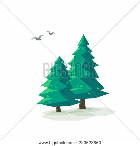 Vector illustration of stylized low poly triangular landscape with green conifer trees on a triangular hill with geometric mountain on yellow sky background. Sun is shining, birds are flying around.