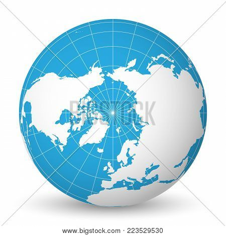 Earth globe green vector photo free trial bigstock earth globe with green world map and blue seas and oceans focused on arctic ocean and gumiabroncs Choice Image