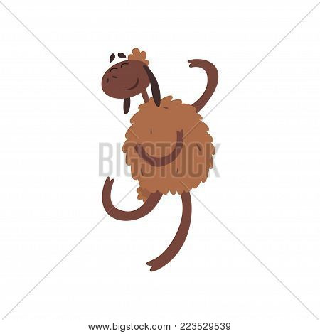 Funny happy sheep character jumping cartoon vector illustration on a white background