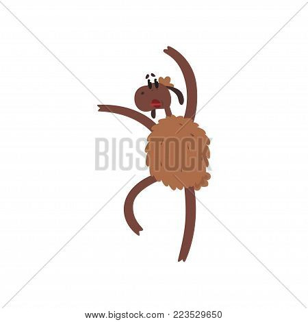 Funny sheep character jumping on two legs cartoon vector illustration on a white background