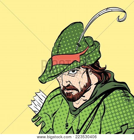 Robin Hood portrait. Robin Hood in a hat with feather. Young soldier. Noble robber. Defender of weak. Medieval legends. Heroes of medieval legends. poster