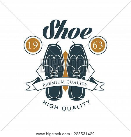 Shoe shop, premium and high quality logo design, estd 1963 vintage badge for shoemaker, shoe shop and shoes repair vector Illustration on a white background