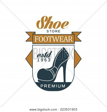 Shoe store, footwear, estd 1963 vintage badge for shoemaker, shoe shop and shoes repair vector Illustration on a white background