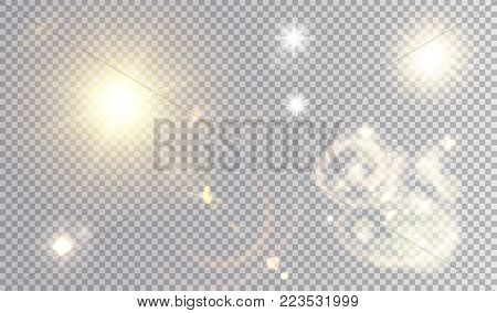 Various light effects set. Summer sun, different stars, abstract curly fog.