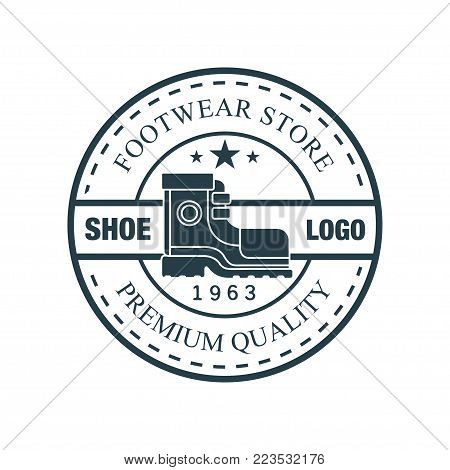 Shoe logo, footwear store premium quality, estd 1963 vintage round badge for footwear brand, shoemaker or shoes repair vector Illustration on a white background