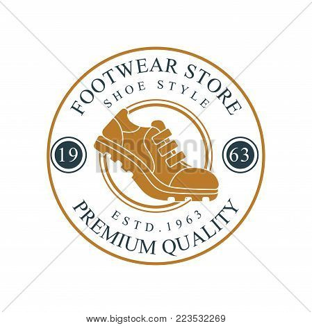 Footwear store logo, premium quality, estd 1963 vintage round badge for footwear brand, shoemaker or shoes repair vector Illustration on a white background