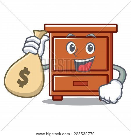With money bag wooden drawer character cartoon vector illustration