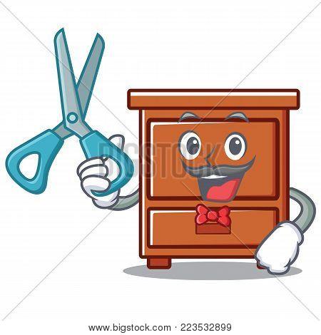 Barber wooden drawer character cartoon vector illustration