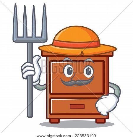 Farmer wooden drawer character cartoon vector illustration