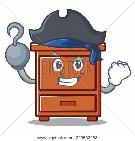 Pirate wooden drawer character cartoon vector illustration