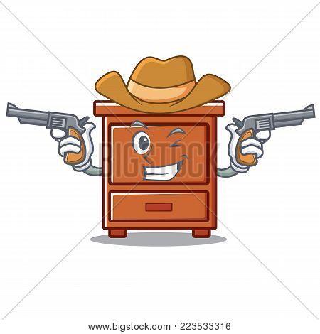 Cowboy wooden drawer character cartoon vector illustration