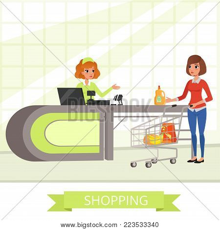 Supermarket store cashier and customer with grocery shopping cart. Young cartoon women characters. Flat shop counter desk banner. Concept for retail store promo background. Vector illustration.
