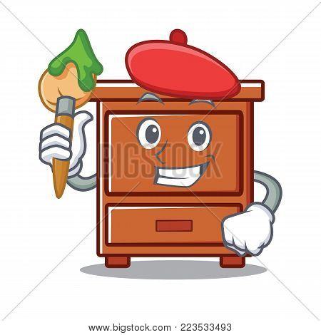 Artist wooden drawer character cartoon vector illustration