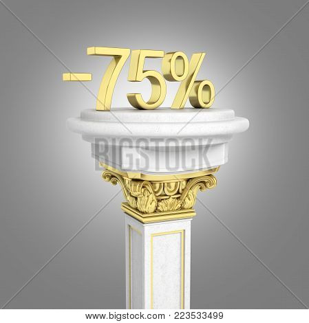 Gold text 75 percent off standing on the pedestal isolated on grey gradient background 3D render