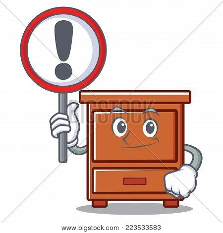 With sign wooden drawer character cartoon vector illustration