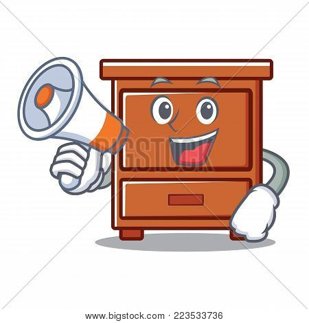 With megaphone wooden drawer character cartoon vector illustration