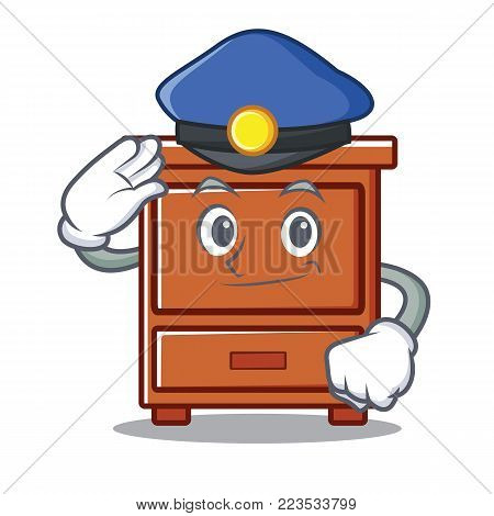 Police wooden drawer character cartoon vector illustration