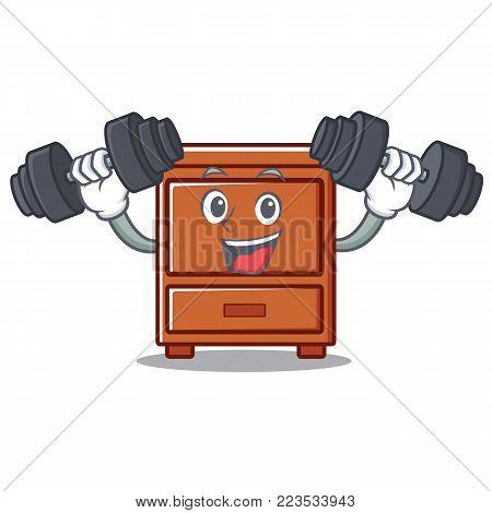 Fitness wooden drawer character cartoon vector illustration