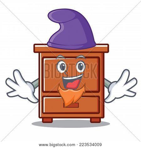 Elf wooden drawer character cartoon vector illustration