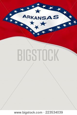 Leaflet design with flag of Arkansas, US. Vector template.