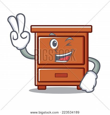 Two finger wooden drawer character cartoon vector illustration