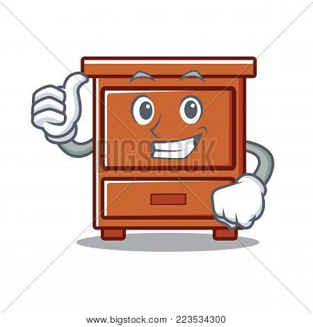 Thumbs up wooden drawer character cartoon vector illustration